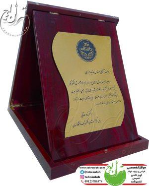 لوح تقدیر جعبه ای چوبي بانوارخاتم برای رییس مرکز آموزش های دانشگاه تهران
