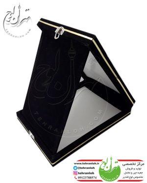 جعبه جیر خام لوح تقدیرجعبه چوبی با روکش جیر و پارچه مخمل مخصوص جای دادن لوح تقدیر