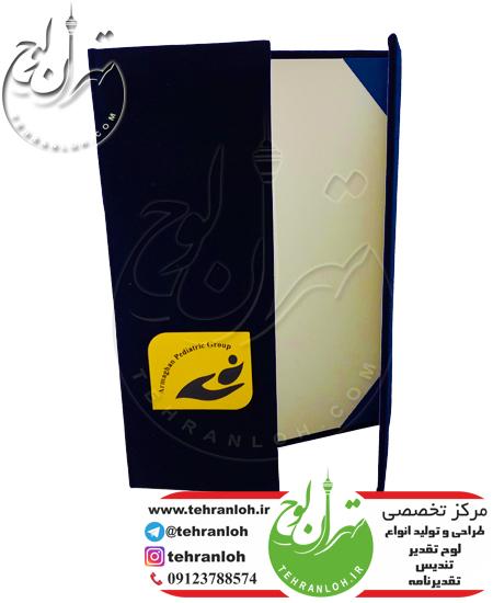خرید جلد تقدیرنامه کتابی با لوگوی برجسته