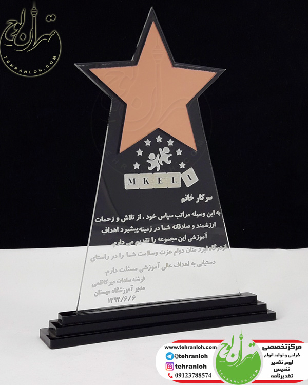 خرید TP46-تندیس طرح ستاره برای کارمند مهد کودک