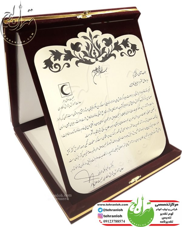تقدیرنامه جعبه جیر زیبا برای معاونت محترم هلال احمر