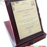 certificate چوبی با جعبه چوبی